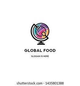 Global Food Colorfull Logo Icon Template