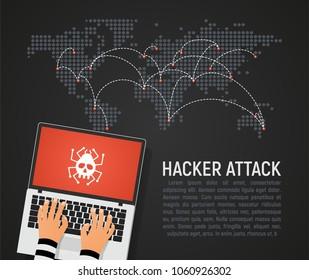 Global hacker attack world map vector illustration. World internet security in danger dark background in flat design. Hybrid network world wide war concept