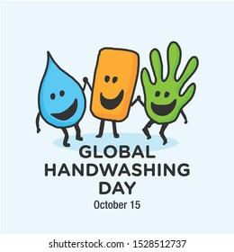 Global Hand washing Day. October 15. Vector Illustration.