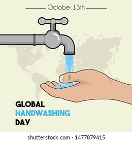 Global Handwashing Day with Left hand cartoon vector, handwashing with water from faucet and world map background