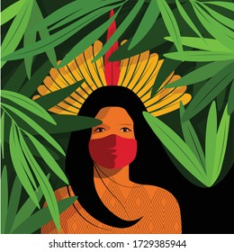 For Global Health - Coronavirus - COVID-19 - indigenous woman with headdress and mask on a forest background