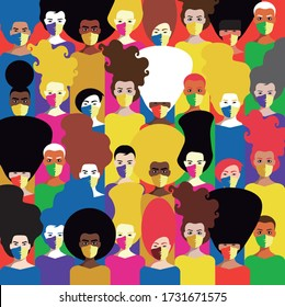 For Global Health - Coronavirus - COVID-19 - several women with masks in a colorful background