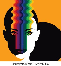 Global Health - Drug Abuse Collection - psychedelic graphics on the face of a woman who used hallucinogens