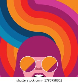 Global Health - Drug Abuse Collection - face of drugged woman with glasses on psychedelic background