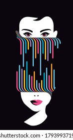 Global Health - Drug Abuse Collection - womans face divided by colorful psychedelic lines