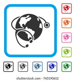Global Healthcare Stethoscope icon. Flat gray iconic symbol inside a light blue rounded square. Black, gray, green, blue, red, orange color variants of Global Healthcare Stethoscope vector.