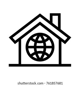 Global home flat icon. International living digital nomad lifestyle real estate property linear vector illustration. Isolated on white background.