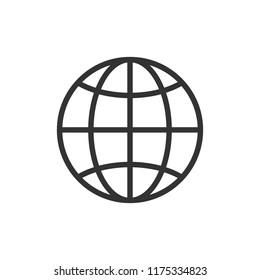 Global icon. Vector illustration, flat design.