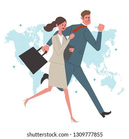 Global Image Businessman Business Woman Running Illustration