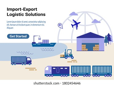 Global import-export logistic solutions website landing page. Seashore scenery with cargo train, containers on freight vessel, warehouse, forklift, truck on the beach and air freighter in clear sky