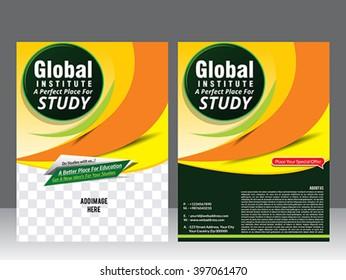global institute flyer template & magazine vector illustration