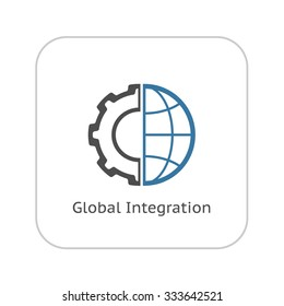 Global Integration Icon. Flat Design. Business Concept. Isolated Illustration.
