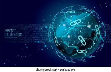 Global international blockchain cryptocurrency. Planet space low poly modern future technology finance banking design. Polygonal polygon triangle chain. Web security business vector illustration art