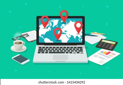 Global international destination or navigation online analysis vector illustration, flat cartoon laptop computer world map and pin pointers, global gps locations or logistic routines research
