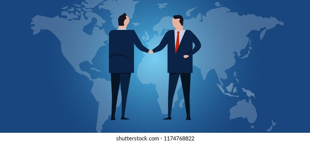 Global international partnership. Diplomacy negotiation. Business relationship agreement handshake. Country flag and map. Corporate world wide business investment. Vector