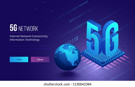Global Internet 5G Network Connectivity concept based responsive landing page design with binary coding and processor chip illustration.
