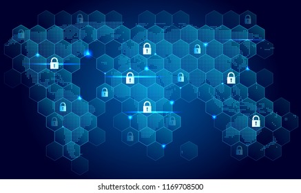 Global internet security concept with padlocks and world map. Vector design.