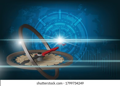 Global Investment Compass. Abstract Compass against a backdrop on business and finance of the digital world and light in the dark.