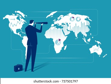 Global Investment Opportunity. Illustration of a businessman searching for investment opportunity. Business concept illustration