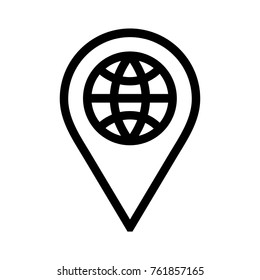 Global location pin flat icon. Globe linear vector illustration as international symbol. Isolated on white background.
