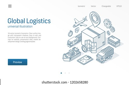 Global logistic service modern isometric line illustration. Export, import, warehouse business, transport sketch drawn icons. 3d vector background. Box storage, distribution, cargo delivery concept.