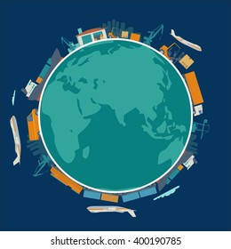 Global logistic, shipping and worldwide delivery business concept - production process from factory to the shop.  Earth planet globe surrounded plane, train, ship, warehouse. Flat vector illustration