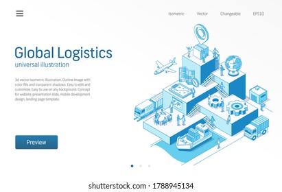 Globale Logistik. Geschäftsleute arbeiten miteinander. Importieren oder exportieren Sie moderne isometrische Liniendiagramme. Transport, Versand, Lieferung, Vertrieb Symbol. 3D-Vektorhintergrund. Wachstumsschrittkonzept