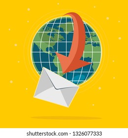 Global logistics concept, deliver mail through the word