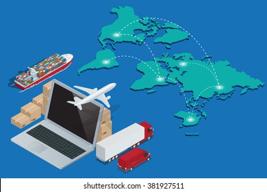 Global logistics network Concept of air cargo trucking rail transportation maritime shipping customs clearance Documentary support and international trade consulting for clients isometric illustration