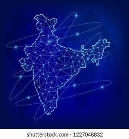 Global logistics network concept. Communications network map India on the world background. Map of  India with nodes in polygonal style. Vector illustration EPS10.