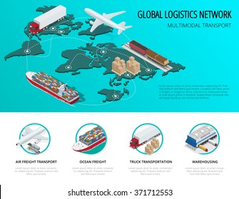 Global logistics network Flat 3d isometric vector illustration Icons set of air cargo trucking,  maritime shipping, warehouse. On-time delivery. Vehicles designed to carry large numbers of China cargo
