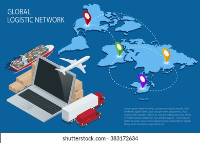 Global logistics network Flat 3d isometric vector illustration