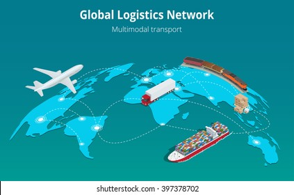 Global logistics network. Flat 3d isometric vector illustration Air cargo trucking rail transportation maritime shipping. On-time delivery. Vehicles designed to carry large numbers cargo