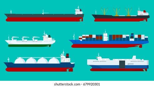 Global logistics network Flat 3d isometric vector illustration Sea transport ships set container, bulker, ro-ro, tanker, dry cargo