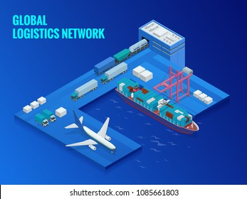 Global logistics network flat isometric vector illustration. Concept of air cargo trucking rail transportation maritime shipping On-time delivery Vehicles designed to carry large numbers