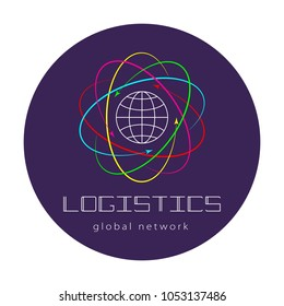 Global logistics network. Map global logistics partnership connection.  Global logistics concept and lettering on violet circle.  Flat design. Vector illustration EPS10.