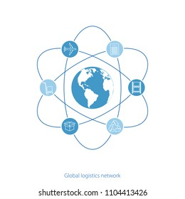 Global logistics network. Map global logistics partnership connection.  White similar world map and logistics icons.  Flat design. Vector illustration EPS10.