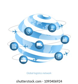 Global logistics network.  Planet Earth and logistics icons in the form of satellites.  Set icons transport and logistics. Flat design. Vector illustration EPS10.