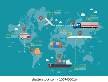 Global logistics network. Set of cargo truck jet maritime shipping and train transportation. Vector illustration