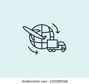 Global logistics service icon line isolated on clean background. Global logistics service icon concept drawing icon line in modern style. Vector illustration for your web mobile logo app UI design.