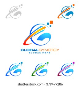 Global logo with ring sphere and digital colorful modern vector logo design