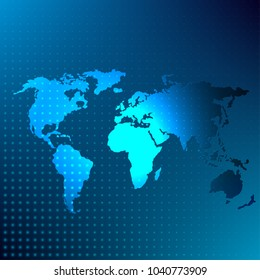 Global map blue abstract background. Flat vector cartoon illustration.