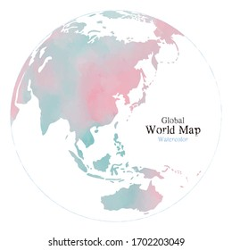 Global map with watercolor texture on white background