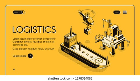 Global maritime logistics company vector web banner, landing page with helicopter carrying container and cargo ship or oil tanker near oil platform isometric line art illustration on yellow background
