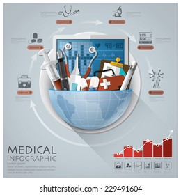 Global Medical And Health Infographic With Round Circle Diagram