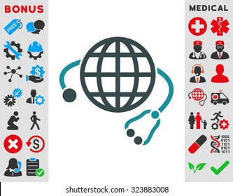 Global Medicine vector icon. Style is bicolor flat symbol, soft blue colors, rounded angles, white background.