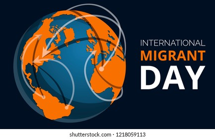 Global migrant day concept banner. Cartoon illustration of global migrant day vector concept banner for web design