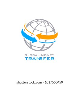 Global money transfer service symbol isolated