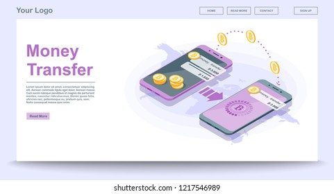 Global money transfer web page vector template with isometric illustration. Cryptocurrency payment. Bitcoin digital wallet. Website interface design. Landing page, web banner, webpage color 3d concept