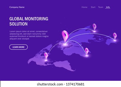 Global monitoring system. Global communications. Virtual world map. Modern vector illustration isometric style.